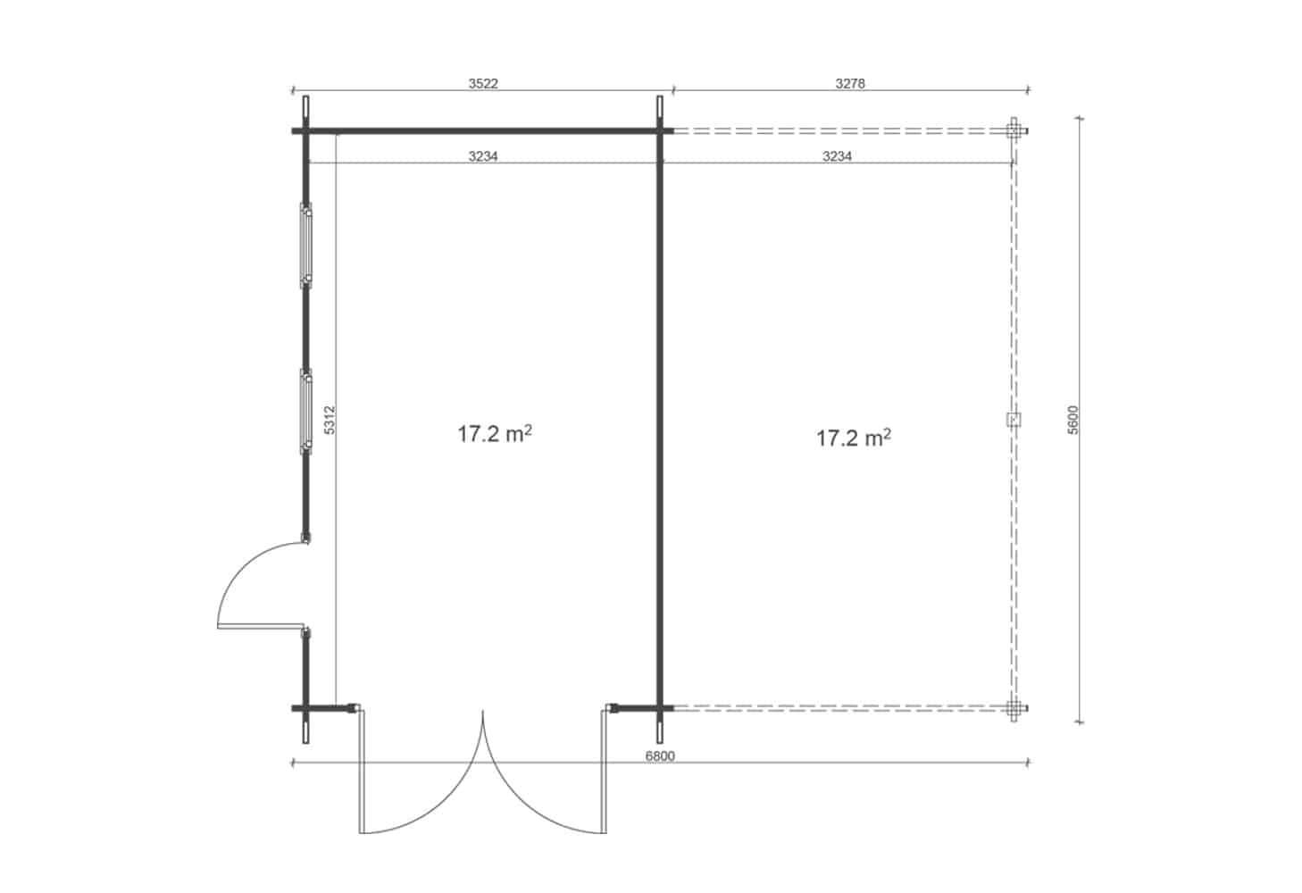 Garage +carport 6,8x5,6 floor plan
